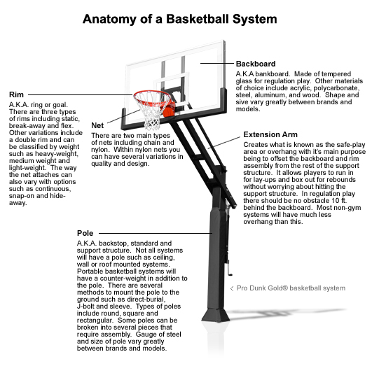 Diagram showing the differnt parts of a basketball system