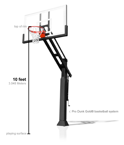 Diagram show regulation reim height of a basketball system