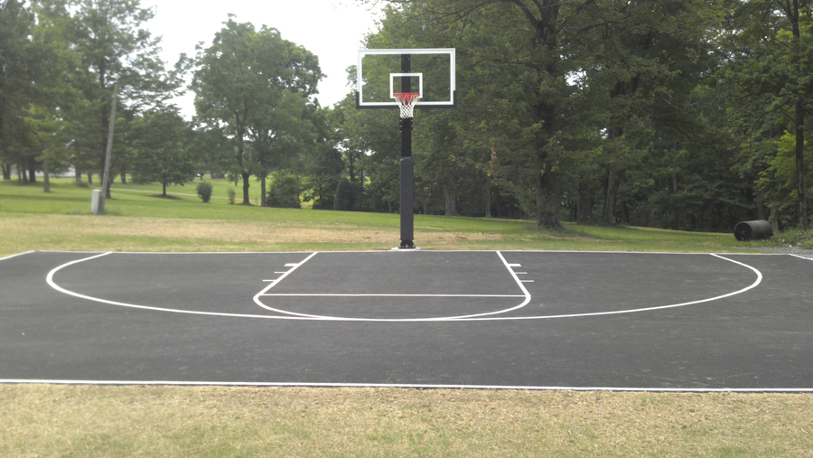 Hercules diamond basketball system for Building a half court basketball court