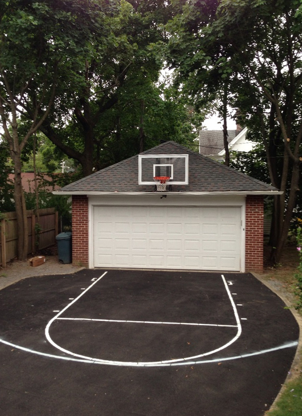 Roof king platinum basketball system for Basketball garage